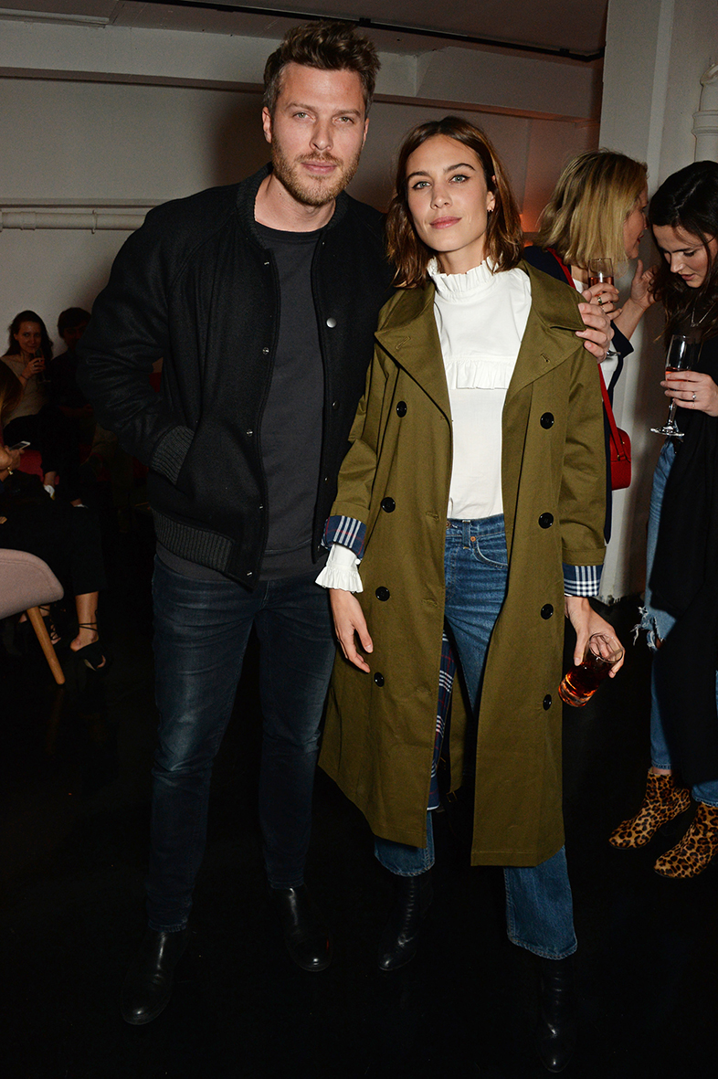 LONDON, ENGLAND - FEBRUARY 18: Rick Edwards (L) and Alexa Chung attend a party hosted by Marks and Spencer, The British Fashion Council and Alexa Chung to kick off London Fashion Week and celebrate the forthcoming collaborative collection 'Archive By Alexa', bringing together a modern icon of British style and a long standing icon of the British High Street, at The Unit, Wardour Street, on February 18, 2016 in London, England. Photo Credit: Dave Benett