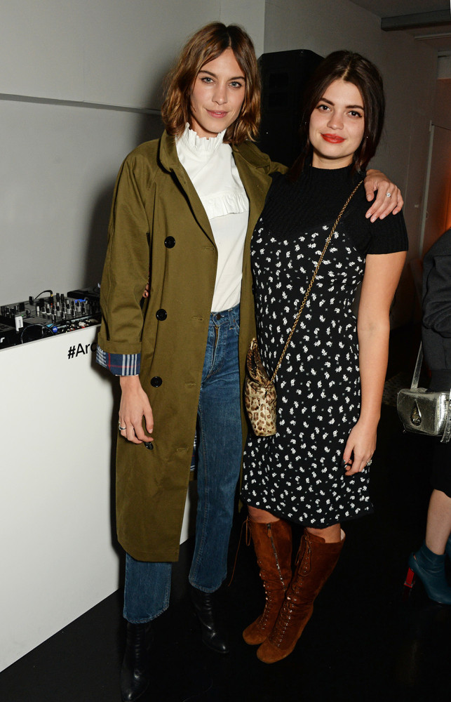 LONDON, ENGLAND - FEBRUARY 18: Alexa Chung (L) and Pixie Geldof attend a party hosted by Marks and Spencer, The British Fashion Council and Alexa Chung to kick off London Fashion Week and celebrate the forthcoming collaborative collection 'Archive By Alexa', bringing together a modern icon of British style and a long standing icon of the British High Street, at The Unit, Wardour Street, on February 18, 2016 in London, England. Photo Credit: Dave Benett