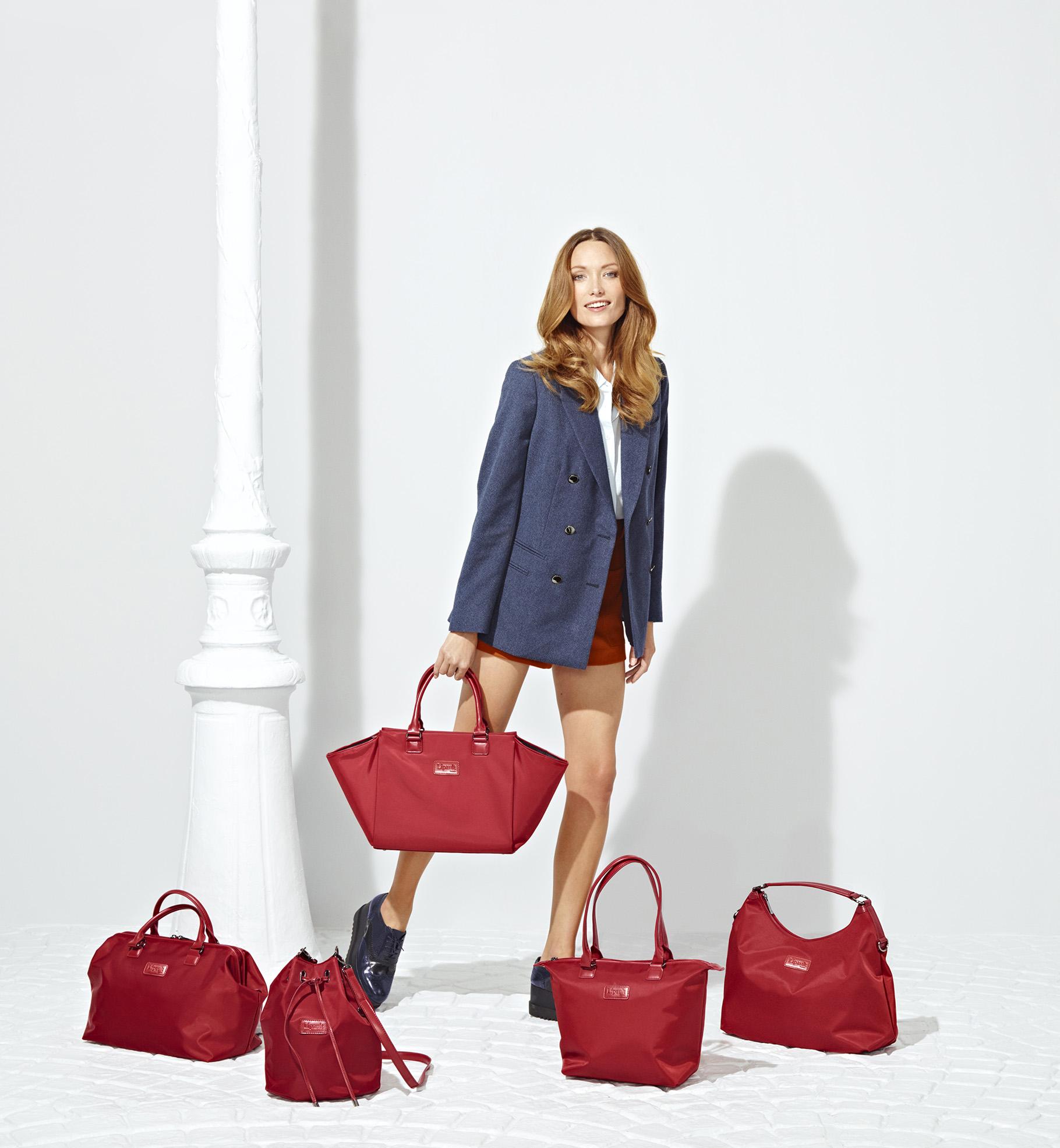 Lipault Lady Plume Satchel Bag M, Bowling Bag M, Bucket Bag S, Tote Bag S, Hobo Bag M all in Ruby 00100_1556