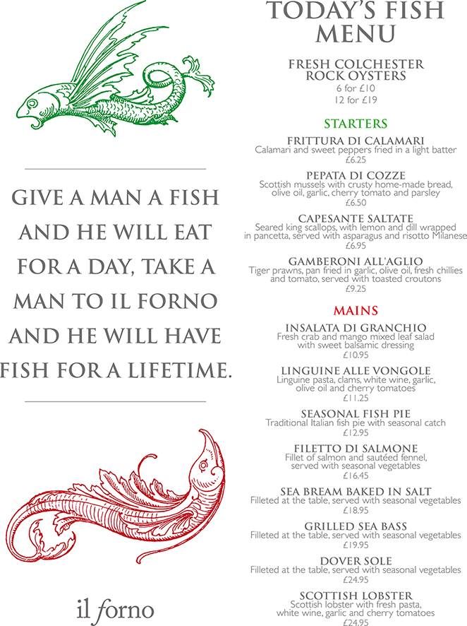 Where to get the city s best seafood his and hers magazine for One fish two fish menu