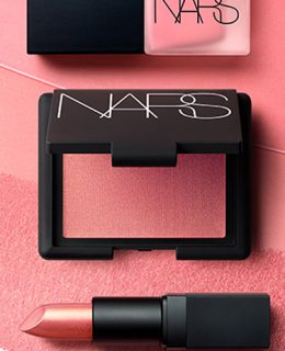 June Beauty Must-Buy: A picture of the new Nars Orgasm collection (featuring lipstick, a blusher & a nail varnish)