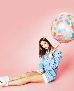 Model poses with a balloon to promote the British Style Collective, Clothes Show