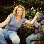 Charlie Dimmock pictured by a water feature