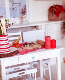 preparing the kitchen for Christmas