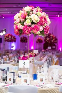 a floral table arrangement at the Lucy Meacock charity lunch at the hilton, liverpool