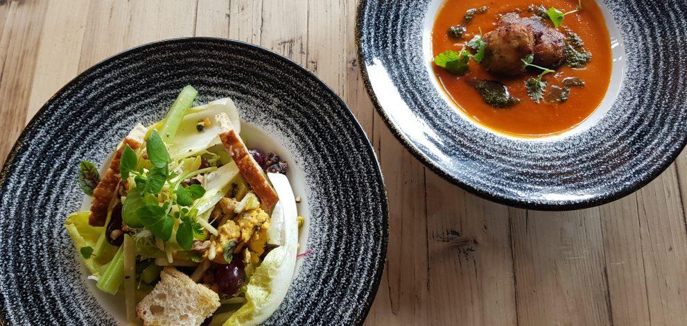 Roast plum tomato soup & Waldorf salad