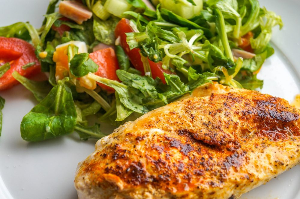 BBQ chicken with salad