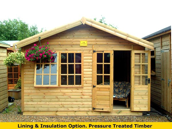 treated timber summer house