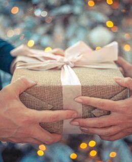 handing over a gift