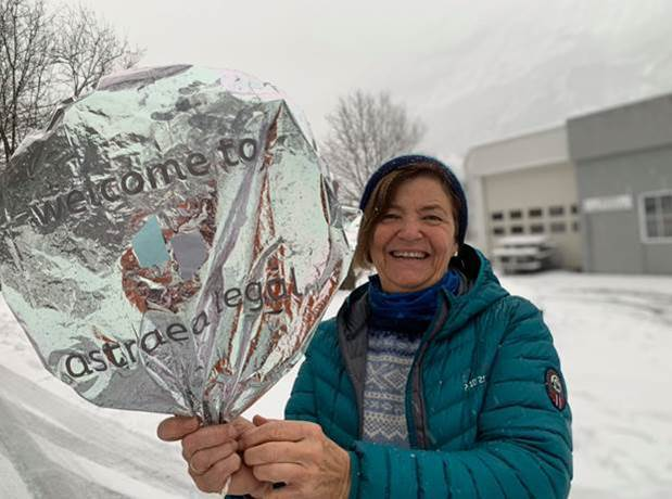 Astrid Sandvik with the Astraea Legal balloon that travelled 700 miles to arrive in her neighbourhood