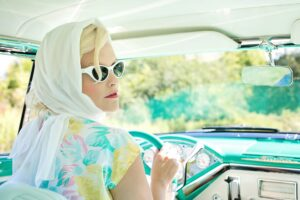 woman driving a car, 1950s retro