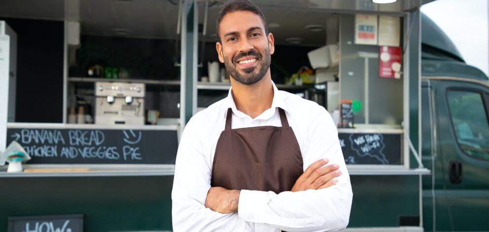 man with food van
